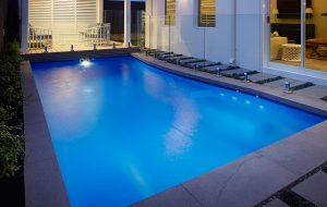 A 7.5m x 3.5m Sahara Fibreglass Pool, Colour: Pacific Shimmer, Location: Swanbourne.